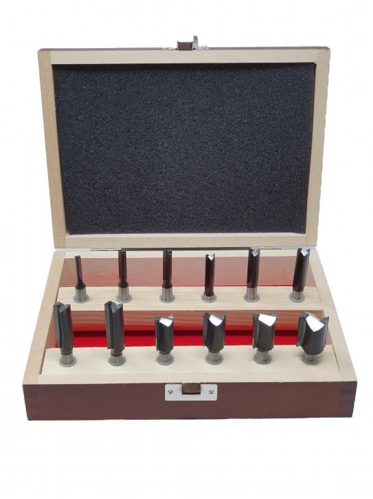 12-teiliges HM Oberfräser Nutfräser Set, Schaft 8,0 mm mit HM Bohrschneide