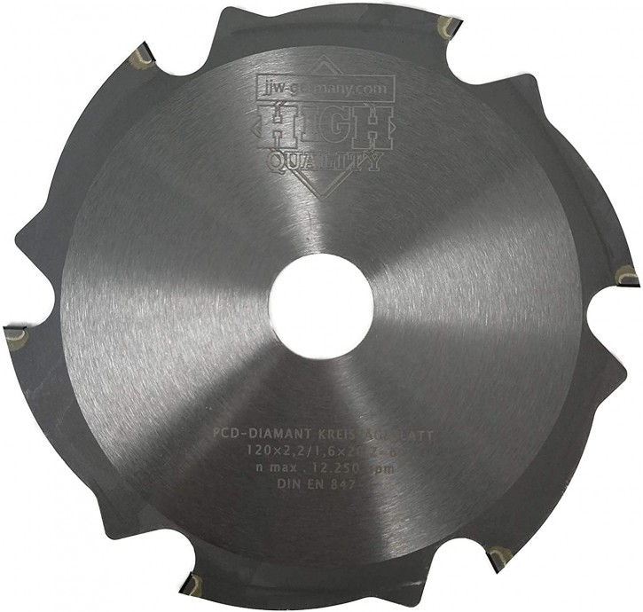PKD - Diamant Sägeblatt 120 x 2,2 x 20 Z= 6 FL für zementgebundene Faserplatten o. abrasive Werkstoffe