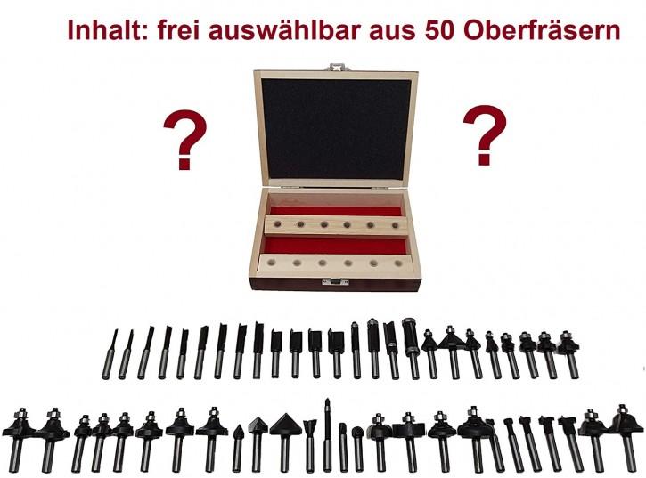 12-teiliges HM Oberfräser Set f. Tisch o. Handoberfräse, Schaft 8,0 x 32 mm, 12 aus 50 HM - Fräsern frei wählbar