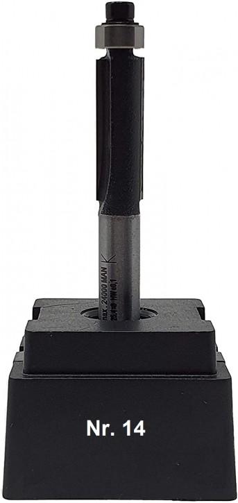 NR 14 / HM - Oberfräser Bündigfräser Z=2 D= 9,5 x NL 25,4 mm mit Stirnkugellager 9,5mm Schaft 8,0 x 32mm