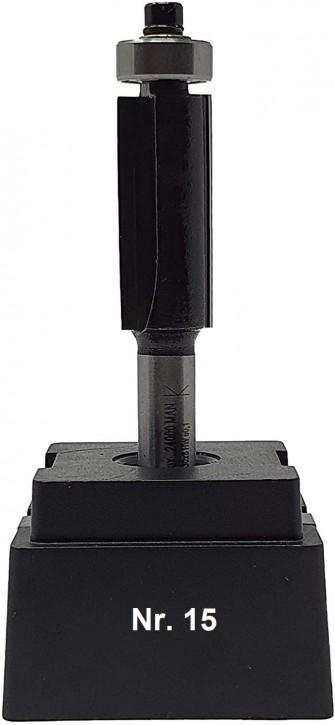 NR 15 / HM - Oberfräser Bündigfräser Z= 2 D= 12,7 x NL 30 mm mit Achswinkel und Stirnkugellager Schaft 8,0 x 32mm