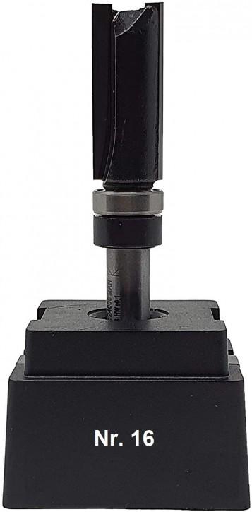 NR 16 / HM - Oberfräser Bündigfräser Z=2 D= 12,7 x NL 30,0 mm mit Schaftkugellager 12,7mm Schaft 8,0 x 32mm