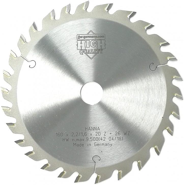 HM – Kreissägeblatt Hanna 160 x 2,2 x 20 Z= 28 WZ speziell für Festool