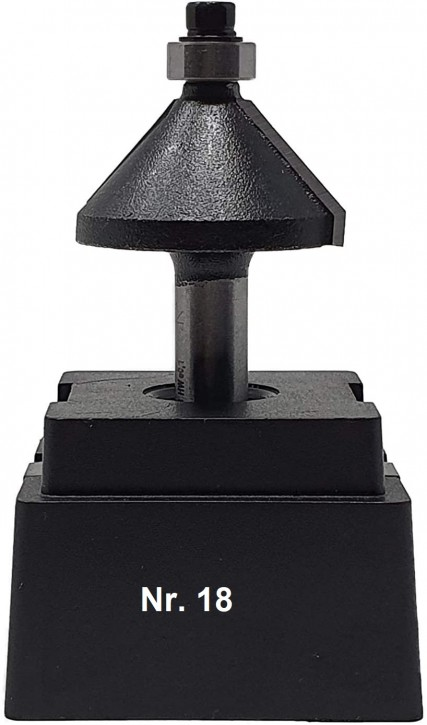 NR 18 / HM - Oberfräser Fasefräser Z=2 D= 32,0mm / 45 Grad, mit Kugellager 9,5 mm Schaft 8,0 x 32mm