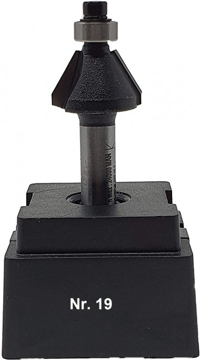 NR 19 / HM - Oberfräser Fasefräser Z=2 D= 20,0mm / 30 Grad, mit Kugellager 9,5 mm Schaft 8,0 x 32mm