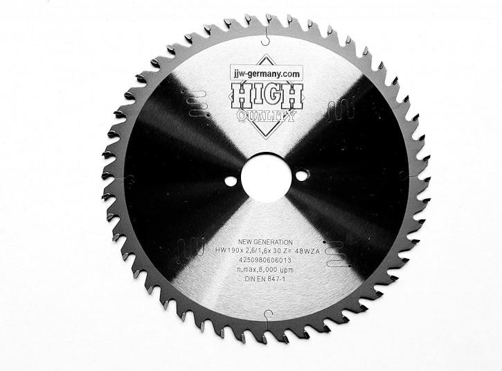 HM - Sägeblatt 190 x 2,6 x 30 mm mit 48 Wechselzahn, Industriequalität nach DIN EN 847-1 LOW NOISE