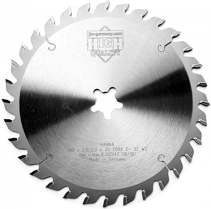 HM – Kreissägeblatt Hanna 190 x 2,6 x 20 TORX Z= 32 WZ für Festo Festool Precisio CS 50
