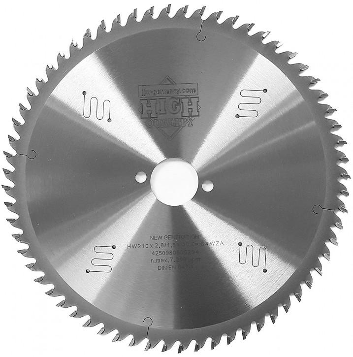 HM Sägeblatt 210 x 2,8 x 30 mm mit 64 Wechselzahn LOW NOISE, Industriequalität nach DIN EN 847-1