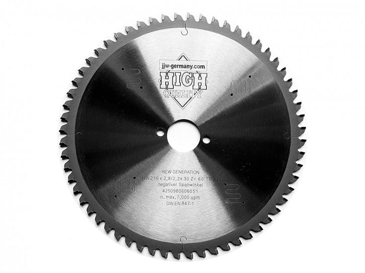 HM Sägeblatt 216 x 2,8 x 30 mit 60 Zähnen TF MULTI MATERIAL negativ, Industriequalität nach DIN EN 847-1