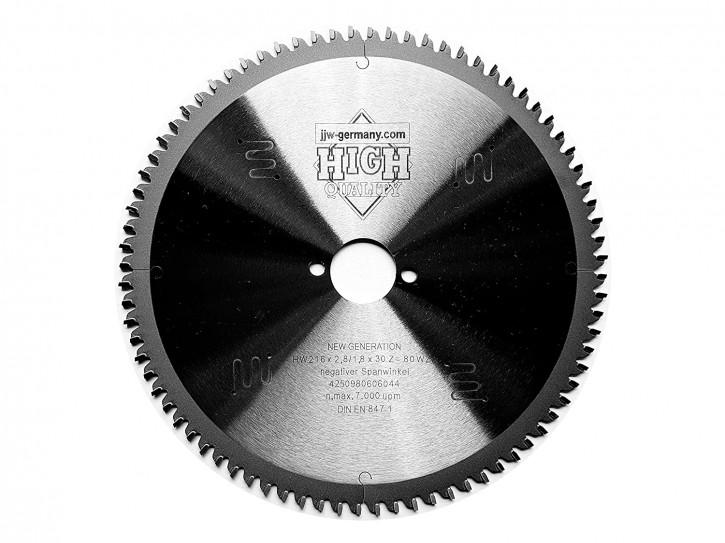 HM Sägeblatt 216 x 2,8 x 30 mit 80 Zähnen Wechselzahn negativ, Industriequalität naN 847-1ch DIN E