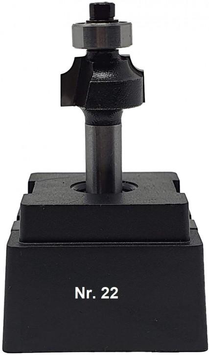 NR 22 / HM - Oberfräser Abrundfräser Z=2 D= 18,0mm Radius 3,0mm mit Kugellager 12,5mm Schaft 8,0 x 32mm
