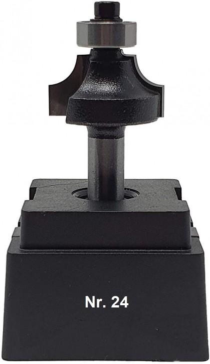 NR 24 / HM - Oberfräser Abrundfräser Z=2 D= 26,0mm Radius 6,0mm mit Kugellager 12,5mm Schaft 8,0 x 32mm