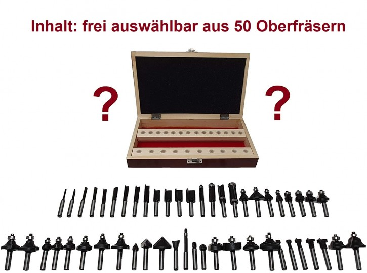 24-teiliges HM Oberfräser Set f. Tisch o. Handoberfräse, Schaft 8,0 x 32 mm, 24 aus 50 HM - Fräsern frei wählbar