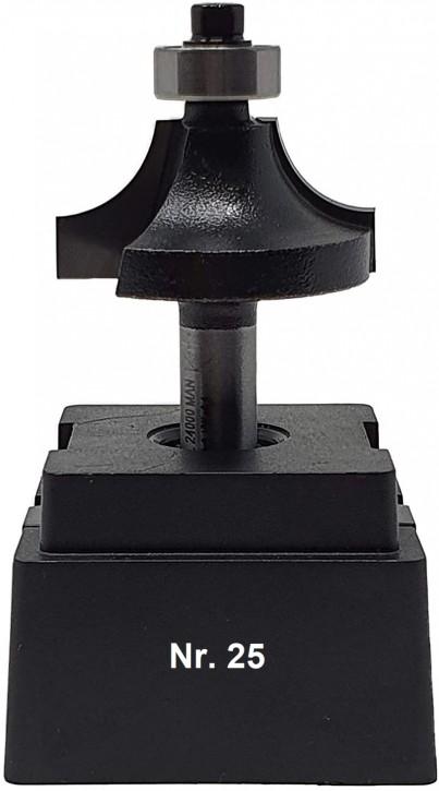 NR 25 / HM - Oberfräser Abrundfräser Z= 2 D= 30,0mm Radius 8,0mm mit Kugellager 12,5mm Schaft 8,0 x 32mm