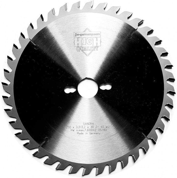 HM - Kreissägeblatt Sandra 250 x 30 Z= 40 WZ für Tisch oder Formatkreissäge