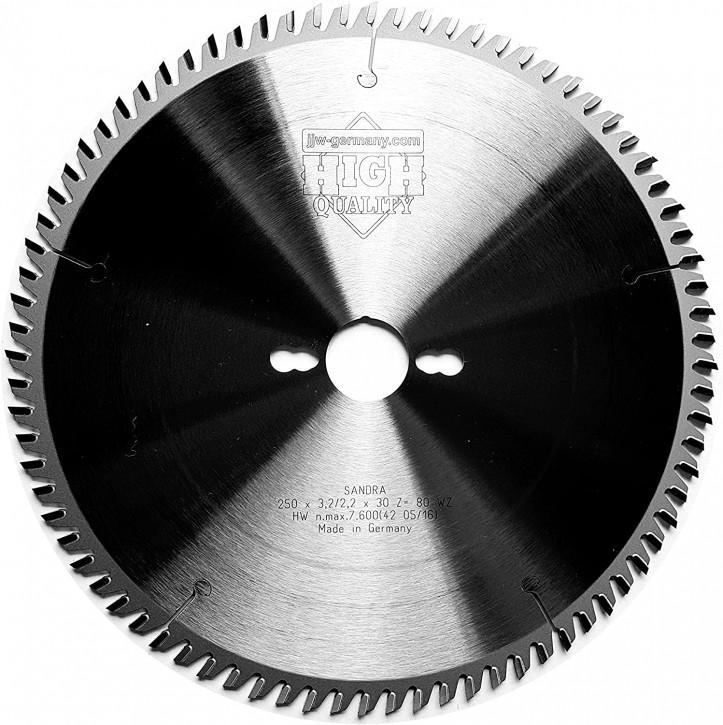 HM - Kreissägeblatt Sandra 250 x 30 Z= 80 WZ für Tisch oder Formatkreissäge
