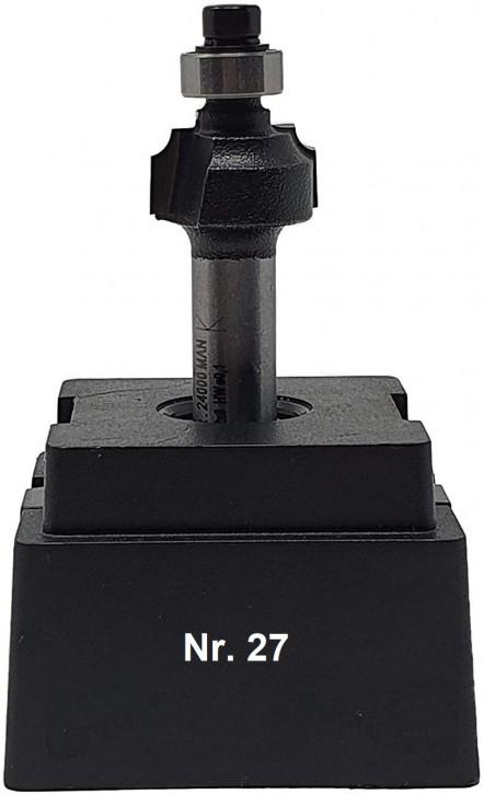 NR 27 / HM - Oberfräser Viertelstabfräser Z=2 D= 16,0mm / Radius 2,0mm Schaft 8,0 x 32mm