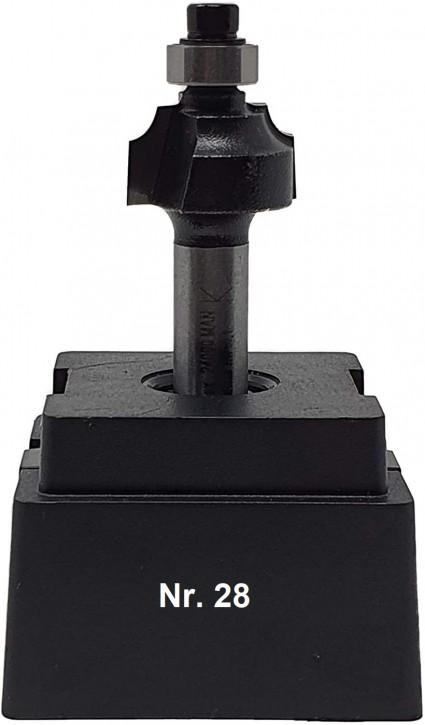 NR 28 / HM - Oberfräser Viertelstabfräser Z=2 D= 18,0mm / Radius 3,0mm Schaft 8,0 x 32mm