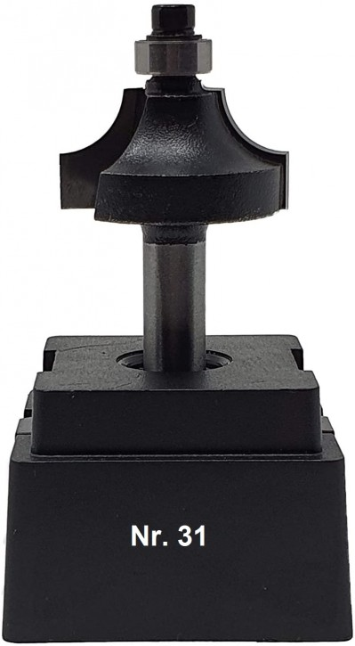 NR 31 / HM - Oberfräser Viertelstabfräser Z=2 D= 30,0mm / Radius 8,0 mm mit Kugellager 9,5mm Schaft 8,0 x 32mm