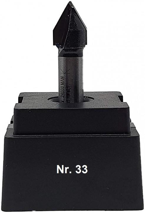 NR 33 / HM - Oberfräser V-Nutenfräser Z= 2 D= 11,0mm / 60 Grad Schaft 8,0 x 32mm