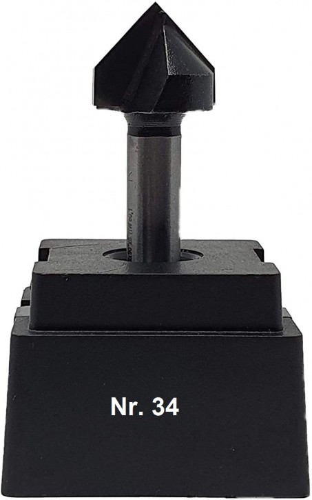 NR 34 / HM - Oberfräser V-Nutenfräser Z= 2 D= 19,0/90 Grad Schaft 8,0 x 32mm