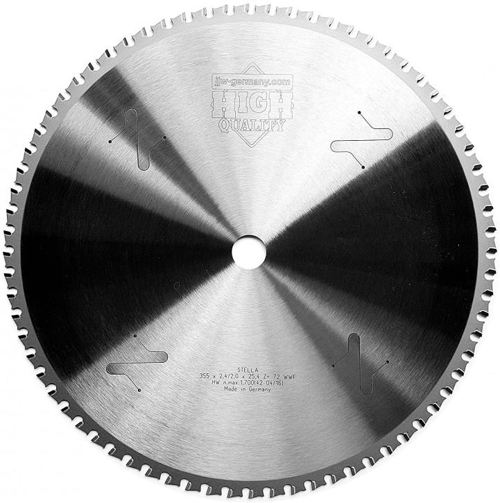 HM – Kreissägeblatt Stella 355 x 25,4 Z= 72 WWF für Stahl, Winkeleisen, Baustahl