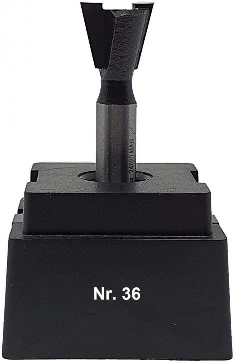 NR 36 / HM - Oberfräser Zinkenfräser Z= 2 D= 14,3 x NL 13,0 mm / 14,0 Grad Schaft 8,0 x 32mm