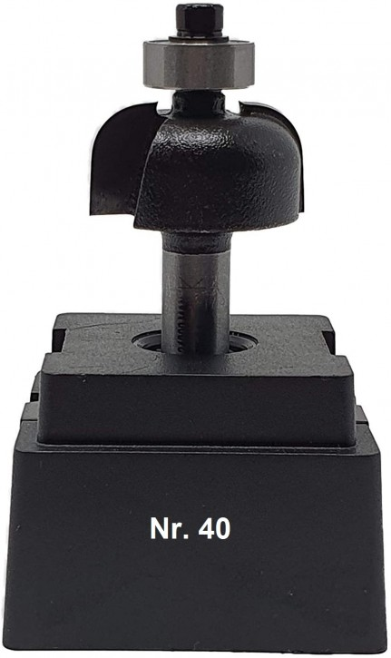 NR 40 / HM - Halbhohlkehlfräser Z=2 D= 25,0mm Radius 6,0mm mit Kugellager 12,5mm Schaft 8,0 x 32mm