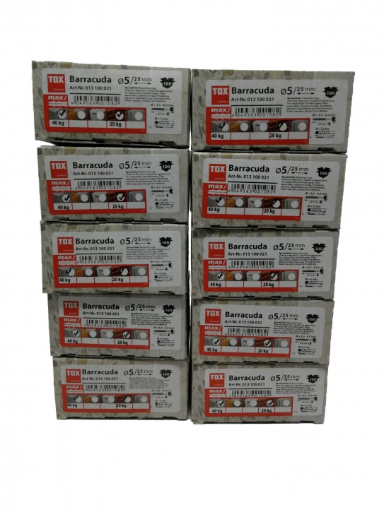 10 Pack = 1000 Stück TOX Spreizdübel Barracuda 5 x 25 mm, Dübel für Vollbaustoffe, 100 % Nylon,
