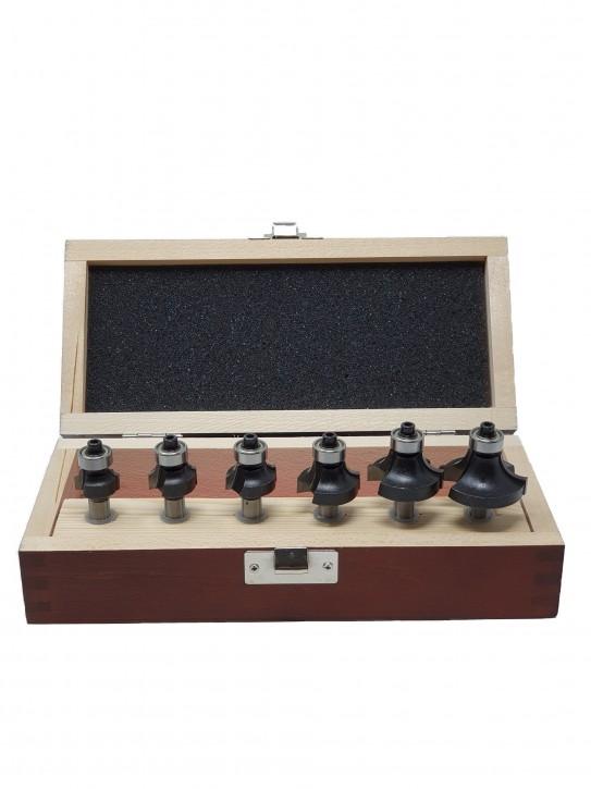 6-tlg. HM - Oberfräser Abrundfräser Set mit Kugellager - Radius 2,0 - 3,0 - 4,0 - 6,0 - 8,0 und 10,0mm  - Schaft Ø 8 mm