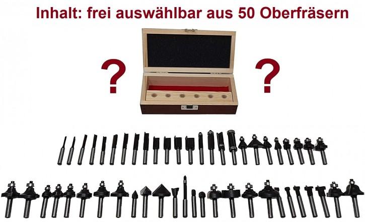 6-teiliges HM Oberfräser Set f. Tisch o. Handoberfräse, Schaft 8,0 x 32 mm, 6 aus 50 HM - Fräsern frei wählbar