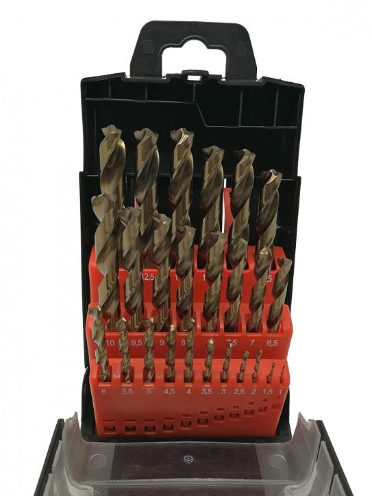 HSS-CO M35 25-tlg. Präzisions - Metallbohrer Set 1-13mm > 0,5mm steigend mit Turbo Spitzenanschliff, selbstzentrierend für Edelstahl
